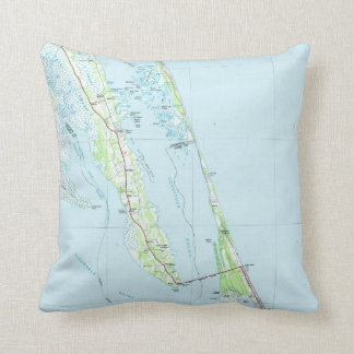 Northern Outer Banks North Carolina Map (1985) Throw Pillow