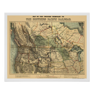 Northern Pacific Railroad Map 1871 Poster