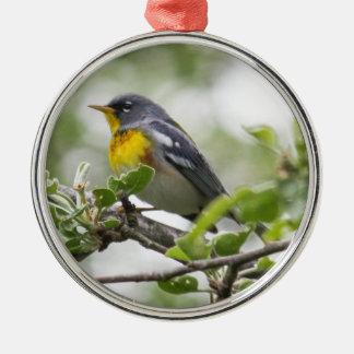 Northern Parula Silver-Colored Round Ornament