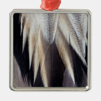 Northern Pintail Duck feather Silver-Colored Square Ornament