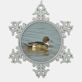Northern Pintail Pewter Snowflake Ornament