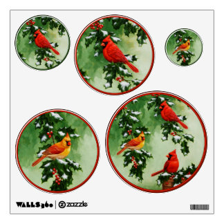 Northern Red Cardinals and Holly Wall Decal
