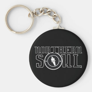 Northern soul Flame bw Basic Round Button Keychain