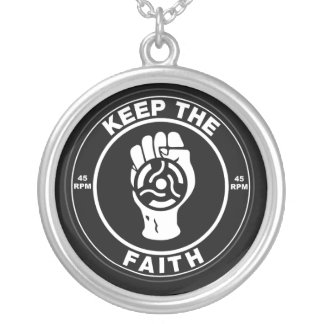 Northern Soul Keep the faith vinyl Silver Plated Necklace