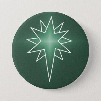 Northern Star Christmas Button, Green 3 Inch Round Button
