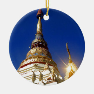 Northern Thai Buddhist Temple Pagoda Round Ceramic Ornament