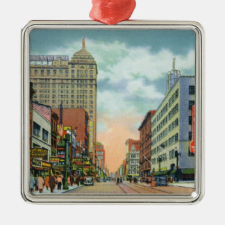 Northern View of Main Street Silver-Colored Square Ornament