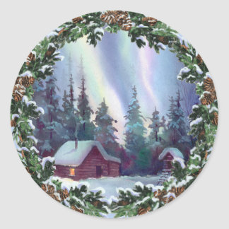 NORTHERNLIGHTS LOG CABIN & WREATH by SHARON SHARPE Classic Round Sticker