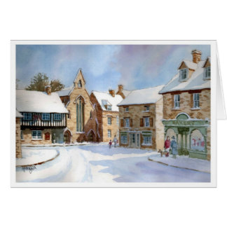 Northleach Market Place in Snow Card