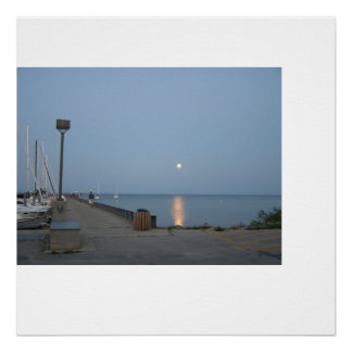 Northport Michigan Marina Moonlight Poster