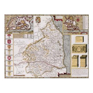 Northumberland, engraved by Jodocus Hondius Postcard