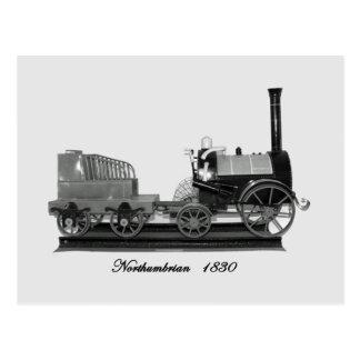 Northumbrian steam locomotive B&W Postcard
