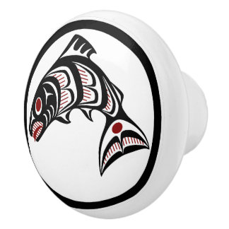 Northwest Pacific coast Haida art Salmon Ceramic Knob