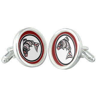 Northwest Pacific coast Haida art Salmon Cuff Links