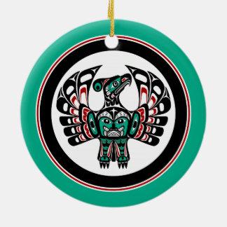 Northwest Pacific coast Haida art Thunderbird Round Ceramic Ornament