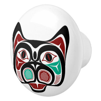 Northwest Pacific coast Haida Kitty Ceramic Knob