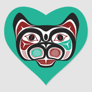 Northwest Pacific coast Haida Kitty Heart Sticker