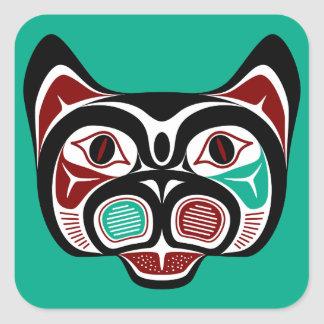 Northwest Pacific coast Haida Kitty Square Sticker