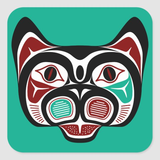 Northwest Pacific coast Haida Kitty Square Sticker