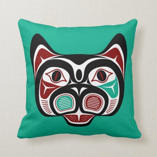Northwest Pacific coast Haida Kitty Throw Pillow
