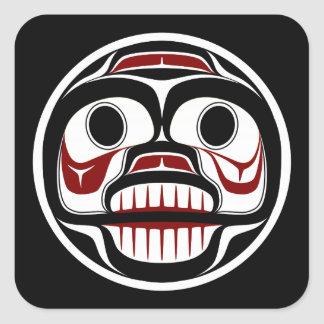Northwest Pacific coast Haida Weeping skull Square Sticker