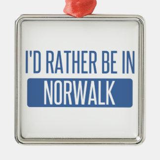 Norwalk CA Silver-Colored Square Ornament