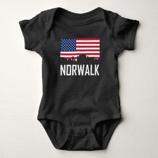 Norwalk Connecticut Skyline American Flag Baby Bodysuit