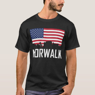 Norwalk Connecticut Skyline American Flag T-Shirt