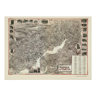 Norwalk, CT Panoramic Map - 1899 Poster