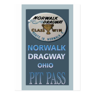 Norwalk Dragway Pit Pass Postcard