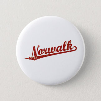 Norwalk script logo in red distressed 2 inch round button