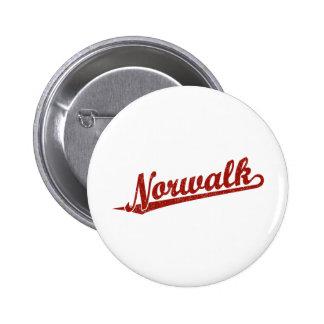 Norwalk script logo in red distressed 2 inch round button