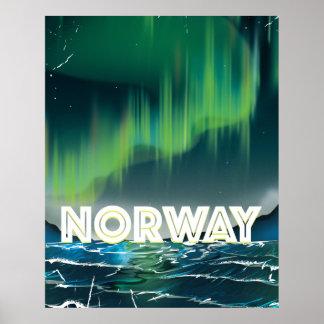 Norway Aurora Northern Lights Travel Poster