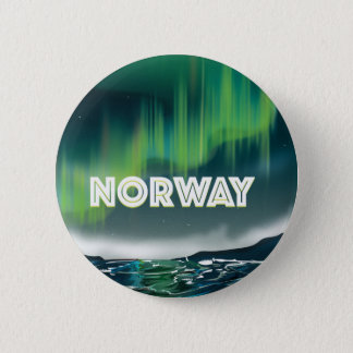 Norway Aurora Northern Lights Travel Poster 2 Inch Round Button
