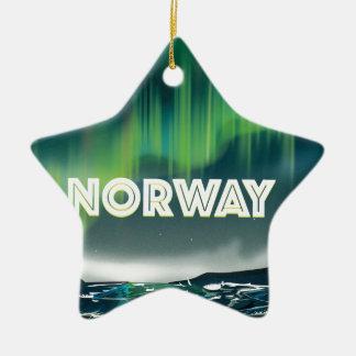 Norway Aurora Northern Lights Travel Poster Ceramic Star Ornament
