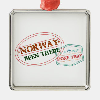 Norway Been There Done That Silver-Colored Square Ornament