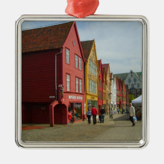 Norway, Bergen,painted houses on the waterfront Silver-Colored Square Ornament