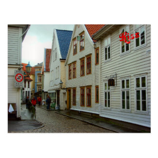 Norway, Bergen, wooden houses and cobbles Postcard