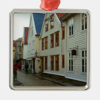 Norway, Bergen, wooden houses and cobbles Silver-Colored Square Ornament