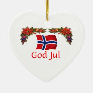 Norway Christmas Ceramic Heart Ornament