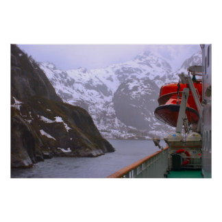Norway, Cruise ship entering the fjord Print