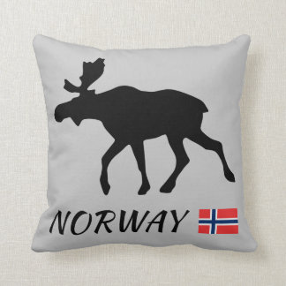 Norway Elk and flag Throw Pillow