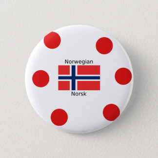 Norway Flag And Norwegian Language Design 2 Inch Round Button