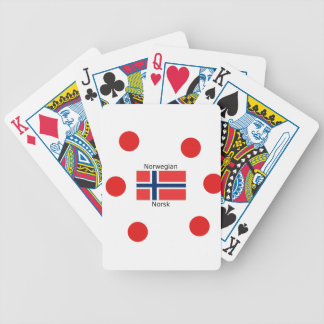 Norway Flag And Norwegian Language Design Bicycle Playing Cards
