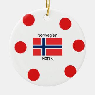 Norway Flag And Norwegian Language Design Ceramic Ornament