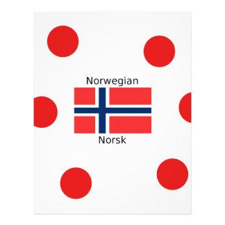 Norway Flag And Norwegian Language Design Letterhead