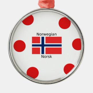 Norway Flag And Norwegian Language Design Metal Ornament