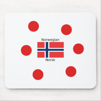 Norway Flag And Norwegian Language Design Mouse Pad