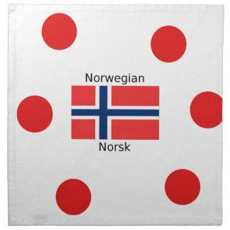 Norway Flag And Norwegian Language Design Napkin