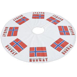 Norway Flag and Word Snow Fleece Tree Skirt